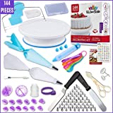 Kitchen Strike Cake Decorating Kit - 144 Piece Baking supplies With Bonus Accessories Of Fondant Tools, Spoons, Piping Bags T
