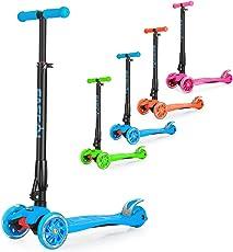 Fascol Monopattino per Bambini Pieghevole Monopattino 3 Ruote,con Ginocchiera gomitiere, Fino a 60 kg, Blu