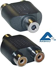 AKSHAJ 3.5mm Stereo Jack Female to 2 RCA Audio Converter Connecter Adapter (AKJ-AUX2rcaADP)