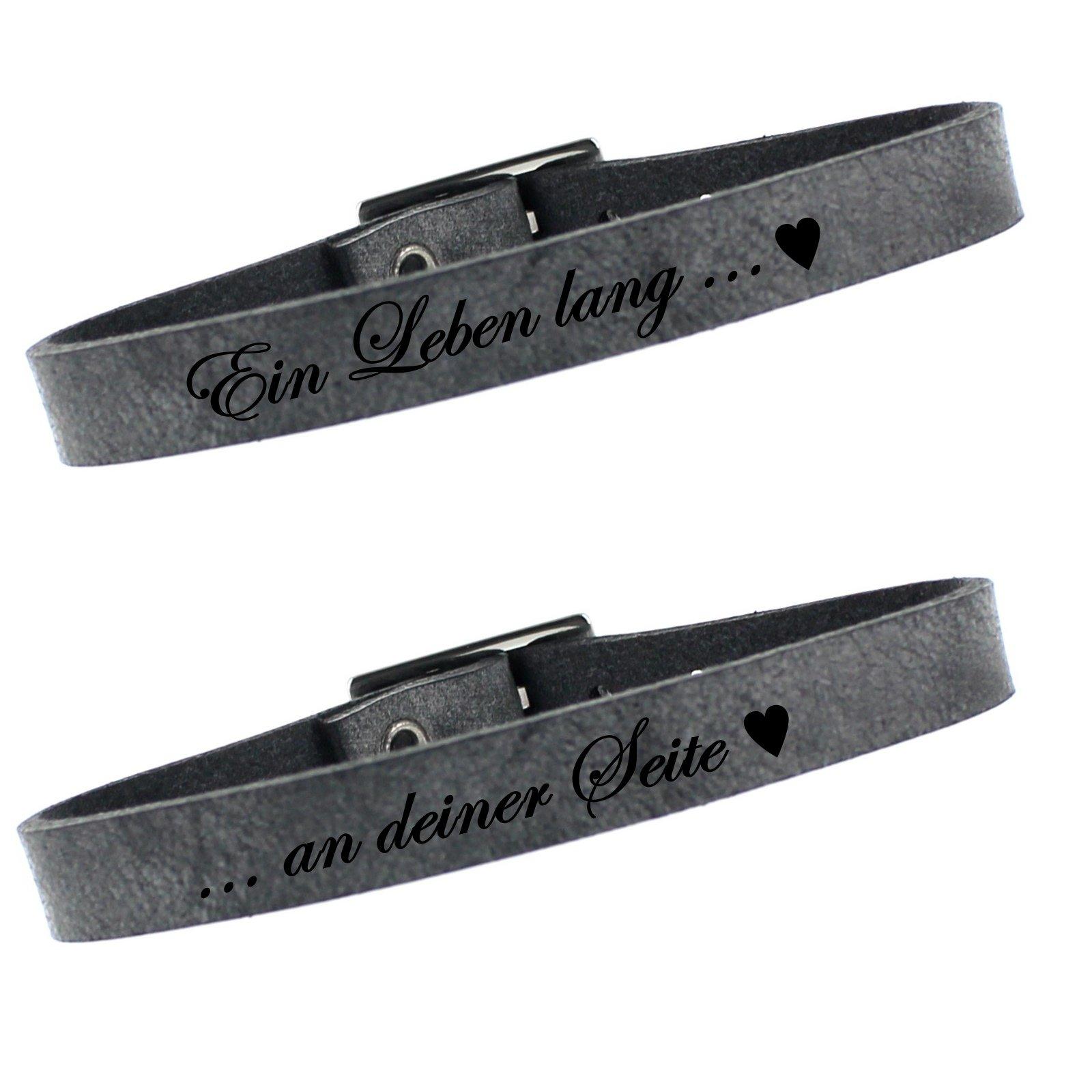 Leder Partner Armbänder 2er Set 23cm - grey