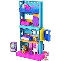 Polly Pocket Pollyville Hôtel à la Plage avec 4 niveaux, mini-figurines Polly et Lila, autocollants et 5 mini…