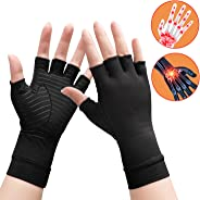 Arthritis Copper Compression Gloves Relieve Pain from Rheumatoid and Carpal Tunnel Gloves for Typing Wrist Supports Hand Left and Right,Copper Fit Gloves for Women Men Black Half Finger (1 Pair)