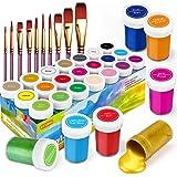 Pinturas Acrílicas, 31 Conjunto de Prima Caja de Pintura Acrílica Incluso 21 x 20 ml de Pigmento Acrílico +10 Pincel- Colores