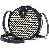 Top Handle Straw Bag, JOSEKO Womens Straw Handbag Shoulder Bag for Beach Travel and Everyday Use (Black#01)