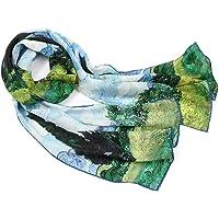 prettystern D'arte Donna Sciarpa di Seta foulard 160cm lunga Impressionismo Van Gogh Claude Monet