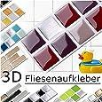 Grandora 7er Set 25,3 x 3,7 cm Fliesenaufkleber rot beige Silber Fliesensticker Design 2 Mosaik 3D-Effekt Aufkleber Küche Bad Fliesendekor selbstklebend W5288