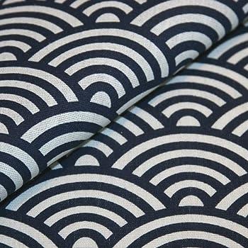 Canvas-Stoff Japanisches Muster Seigaiha Wellen Baumwolle Meterware ...