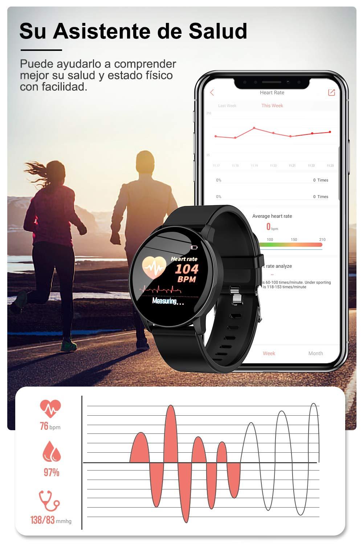 AIMIUVIE Smartwatch, Reloj Inteligente IP67 con Pulsómetro Podómetro Presión Arterial Oxígeno de Sangre, Sueño, Reloj Inteligente Deportivo para Mujer Hombre … 4