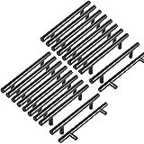 margueras 20 stuks kastgrepen, 128 mm, T-stang van roestvrij staal, zwart, kastdeurgreep, stang met schroeven