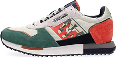 NAPAPIJRI Sneakers Casual Uomo Modello Virtus in camoscio e Tessuto Multicolore Grigio, Verde e Arancio. Fondo in Gomma Antiscivolo.