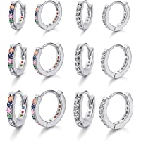 Milacolato 6Pairs Huggie Cerchio Orecchini per Donna Orecchini con Zirconi Cubici Rainbow CZ Multicolore Piccola…