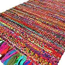 EYES OF INDIA - 2 X 3 ft MULTICOLOR COLORFUL CHINDI WOVEN RAG RUG Indian Boho Bohemian Decor