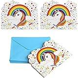 Kesote Ensemble de 24 Licorne Cartes d'invitation pour Anniversaire Baby Shower Anniversaire Fille Enfant Décorations et Acce