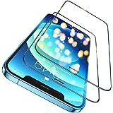 Humixx Skärmskydd i härdat glas kompatibel med iPhone 12 iPhone 12 Pro, 2-pack [3D dammsäkra nät] [2,5D kant till kant fullst