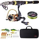 Sougayilang Canne à pêche télescopique et moulinets portables pour pêche en eau douce et eau de mer, idéal pour les déplacements
