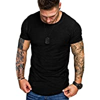 Mens Stretch T-Shirt Short Sleeve Top Breathable Crew Neck Tee Summer Solid Shirts