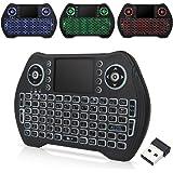 Zedo - Mini tastiera wireless retroilluminata 2,4 G, telecomando portatile con mouse touchpad per Android TV Box…