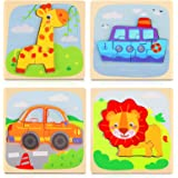 KidsPark Wooden Jigsaw Puzzles Toddler Toys Set, 4 Pack Animal Traffic Wooden Toddler Puzzles for 1 2 3 4 Year Olds Kids Baby