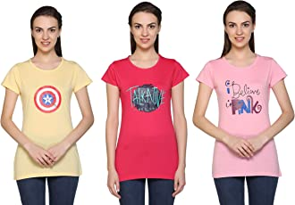 CUPID Women Round Neck Casual TOP & TEES/Night / Yoga/Gym Wear T-Shirt/Ladies Top 3 Pc Combo Offer Pack (Yellow, Hot Pink, Light Pink)