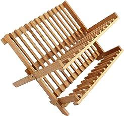 7Trees&Reg; Folding 2-Tier Bamboo Dish Drying Rack