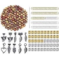 chiwanji Treccia di Capelli Dreadlocks - 10mm di Diametro - Perline di Legno Clip in Metallo Polsini Cerchi
