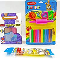 Rabbit Magic Flow Sand Gift Pack 500GMS+ Clay Blister 12 Colors +Tempera Colors|Play Clay Dough Set for Kids|Play Sand…