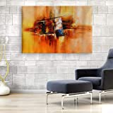 Inephos Cotton and Wood Modern Framed Painting, Beige, Abstract, 85 x 55 cm