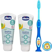 Chicco Apple- Banana Toothpaste (6 m+), 50ml, Pack of 2 and Blue Tooth Brush