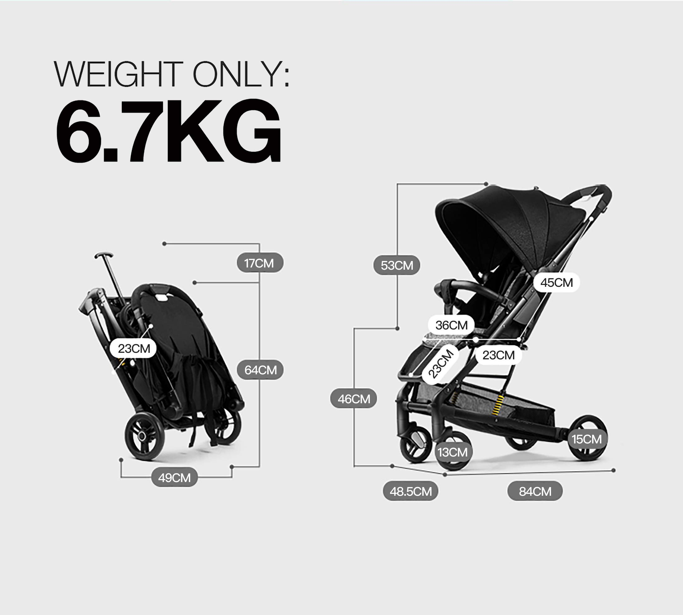Allis Travel Stroller Baby Buggy Pram Lightweight Pushchair - Yellow Allis Baby Made according to British Standard EN1888, Fire Safety Regulations 1988. Lockable 360 swivel wheels, removable and suspension. Ultralight Design:Aluminium frame. Suitable from 6M - 4Ys ( upto 15Kg Approx) 6