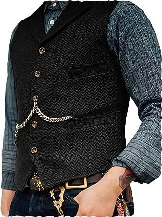 Aesido Formal Men's Vests Slim Fit Soft Wool Tweed Herringbone Business Suit Vest Waistcoat for Wedding Groomsmen