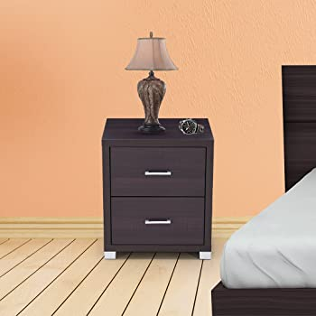 Royaloak Berlin Bedside Table with 2 Drawers (Chocolate)