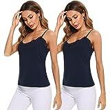 Irevial Camisetas Tirantes Mujer Verano Camisola Sexy Camiseta sin Mangas con Cuello en V y Encaje Spaghetti Ajustable Cami T