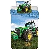 Parure de Lit Tracteur Réversible 100% Coton - Housse de Couette 100x135 cm + Taie d'Oreiller 40x60 cm