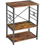 IBUYKE Industrial Kitchen Shelf, 3-Tier Serving Trolley, Baker's Rack, Standing Shelf Microwave Rack with 6 Hooks, for Mini O