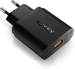 AUKEY Quick Charge 3.0 USB Ladegerät 19,5W USB Netzteil für Samsung Galaxy S8/S8+/Note 8, LG G5/G6, Nexus 5X/6P, HTC 10, iPhone XS/iPhone XS Max/iPhone XR, iPad Pro/Air, Wireless Ladegerät usw.