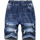 LAUSONS Pantalones Vaqueros Cortos para niños - Shorts Vaqueros Rotos con Cintura elástica - Bermudas de Mezclilla Desgastado