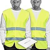 Chalecos de Seguridad amarillo Reflectante. Doble Cinta Reflectiva Alta Visibilidad Transpirable y ligero. Homologado normati