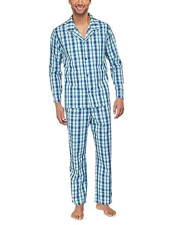 410aa42d12 Seidensticker Herren Zweiteiliger Schlafanzug Pyjama lang, Gr. 48, Blau ( blau 800)