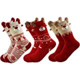 3 Pairs Christmas Socks Ladies Winter Warm Girls Christmas Socks Reindeer Snowflake Socks Xmas Gift For Women