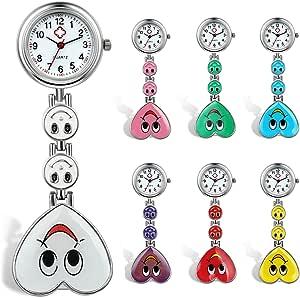 Lancardo, orologio a spilla, con faccia sorridente su cuore colorato, per baveri o colletti di camici da medico/infermiere