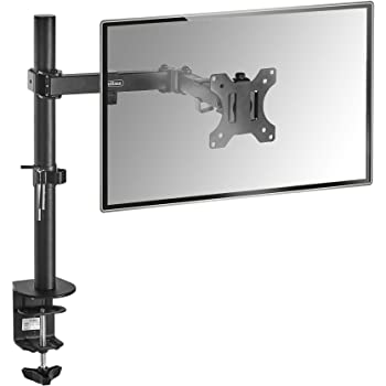 "VonHaus Monitor Mount for 13-32"" Screens | Single Arm Desk Stand Bracket with Clamp | Ergonomic 180° Tilt, 360° Rotation & 360° Swivel Arm | VESA Dimensions: 75x75-100x100"
