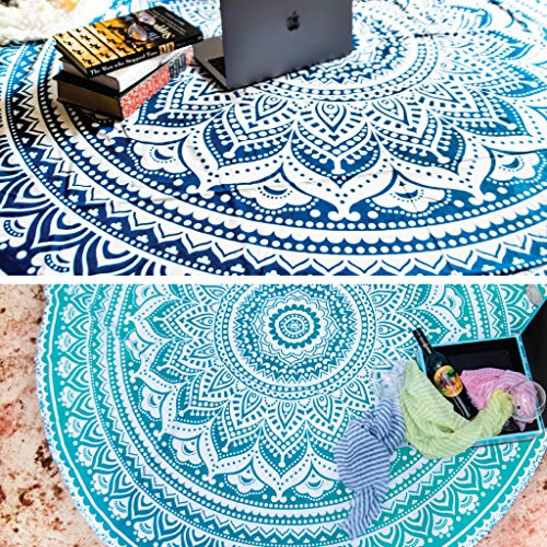 Set de 2Ombre redondo Mandala tapiz Hippie indio Mandala Roundie mesa de picnic, Hippy spread Boho Gypsy algodón mantel toalla de playa redondo de meditación Yoga Mat–72cm