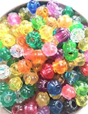 Lovely Arts Collection Colorful Plastic 10 mm Matka Loose Beads for Macrame Items, Home Décor, Purse, Bag making, Door Hangings DIY Crafts (Approx : 125 pcs.)