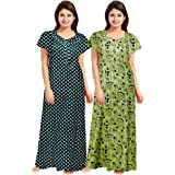 Trendy Fab Women's Cotton Printed Maxi Nighty(Pack of 2)