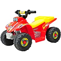 HOMCOM Kids 6V Electric Car Children Ride-on Toy Off Road Style Quad Bike Rechargeable Battery Powered- Red & Yellow