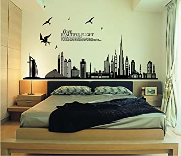 ufengke® Città Nera Silhouette Paesaggio Urbano Grattacielo ...