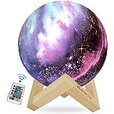 KOWTH Lampe Lune 3D,15CM avec Télécommande, 16 Couleurs Tactile USB Rechargeable Veilleuse très belle lumière sensible avec S