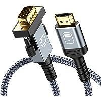 Snowkids Cavo HDMI a VGA 1.8m, Cavo HDMI VGA Maschio [1080P Full HD, Placcato in Oro, Nylon Cord] Video Attivo…