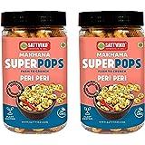 Sattviko Roasted Makhana Superpops Healthy Snacks, Peri Peri, (2x67 gm) | Lotus seed, Fox nuts | Breakfast food | Kids above
