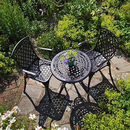 Lazy Susan - IVY Bistrotisch mit 2 Stühlen - Rundes Gartenmöbel Set aus Metall, Antik Bronze (ROSE Stühle) (Bronze Set Beistelltisch)